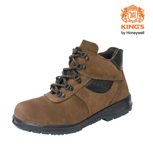Kings Brown Nubuck Water Resistant Leather Lace Up PU Rubber Safety Shoes, Model: KP993KW