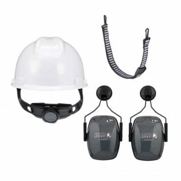 MSA V-Gard Safety Helmet with 2 Points Chin Strap & Honeywell L1H Helmet Earmuff