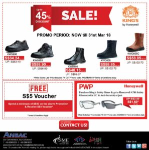 King's Safety Shoes-Up to 45% Off + S$5 Voucher + Purchase with Purchase Promotion