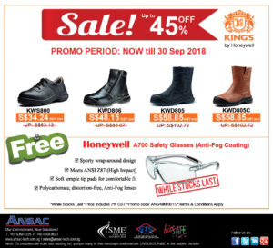 Buy 1 Safety Shoes Free 1 Anti-Fog Safety Glasses! While Stocks Last!