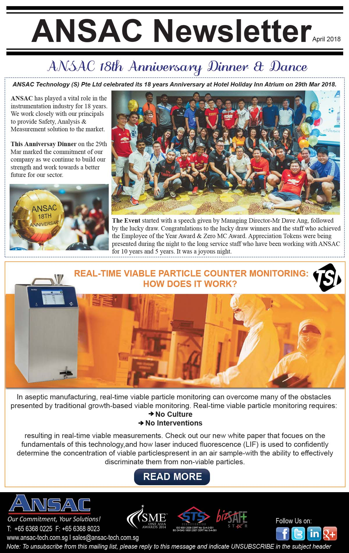"ANSAC Newsletter-""18th Anniversary Dinner & Dance"" & How Does TSI Real Time Viable Particle Counter Work?"