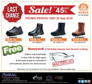 [LAST CHANCE TO GRAB] Buy 1 Safety Shoes Free 1 Honeywell A700 Safety Glasses! While Stocks Last!