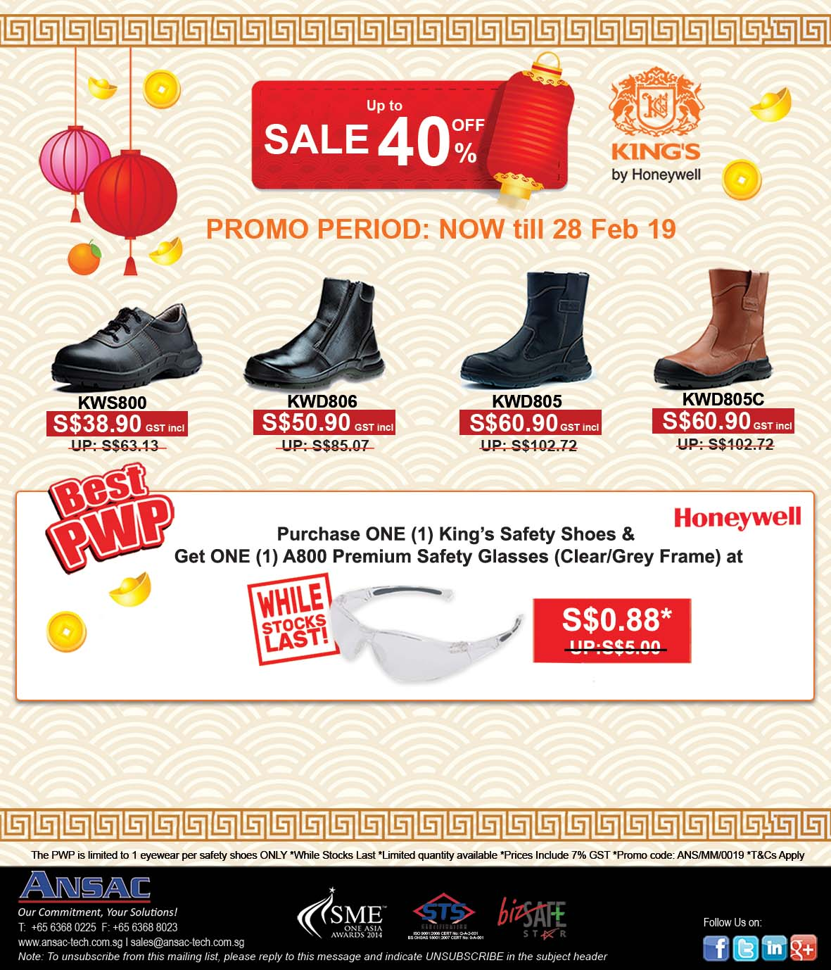 CNY Sale 2019! Up to 40%Off + PWP-King's Safety Shoes & Honeywell Safety Eyewear Up for Grabs Now!