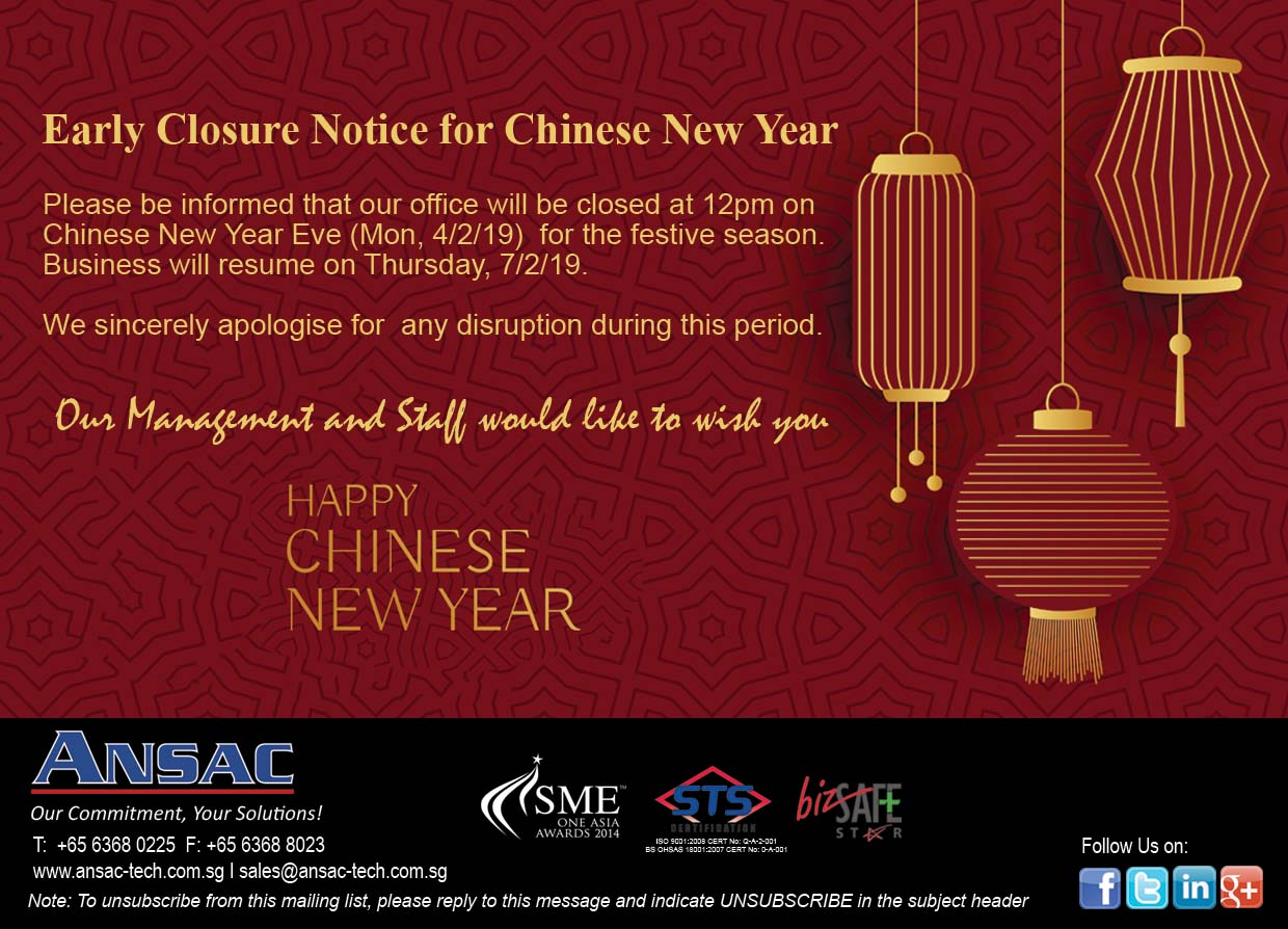 Early Closure Notice for Chinese New Year