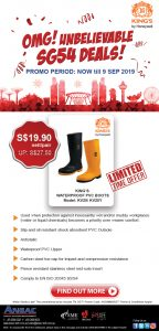 SG54 Deal: Buy King's Waterproof PVC Safety Boots @ S$19.90nett/pair (UP: S$27.50)