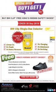 Buy Single Gas Detector Free King's Safety Shoes only at ANSAC! Ends 30 Sep!